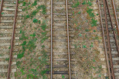 Railway rails. Top view. Royalty Free Stock Photo
