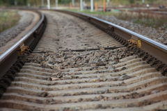 Railway, railway lines, gravel,  railroad tracks Stock Image