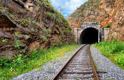 Railway recess before entering tunnel Royalty Free Stock Image