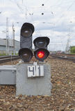Railway red light. Railway dead end, way closed, red light Royalty Free Stock Photography