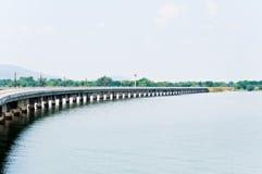 Railway on the reservoir Stock Photo