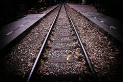 Railway retro style never ending road Royalty Free Stock Images