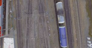Railway ride trains and cisterns. Railroad ride trains and tank cars wagons rails stock video