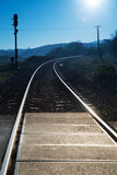Railway road at blue sky Stock Image