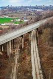 Railway and road bridge Royalty Free Stock Photo