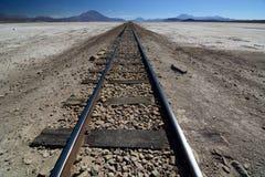 Railway road. Ferrocarril de Antofagasta a Bolivia. Chiguana salt flat. Potosi department. Bolivia Stock Images