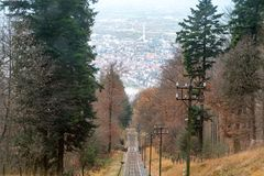 Railway road from the Heidelberg town up the hill. Stock Photo