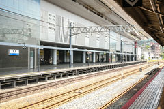 Railway road in kyoto station. Japan Royalty Free Stock Images