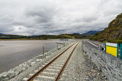Railway and road over new river crossing, Pont Briwet bridge. Royalty Free Stock Images