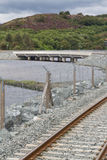 Railway and road over new river crossing, Pont Briwet bridge. Royalty Free Stock Image