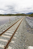 Railway and road over new river crossing, Pont Briwet bridge, fr Stock Photography