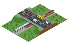 Railway road and track with the traffic. Modern high speed train and Freight Train. Flat 3d vector isometric concept. Stock Photos
