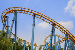 Railway for roller coaster in blue sky Royalty Free Stock Photos