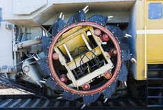 Railway rotary dredge machine. Closeup view of the rotary shovel Stock Images