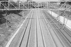 RAILWAY, RUSSIA, MOSCOW REGION. Railway tracks in Moscow region, Russia. Transport Royalty Free Stock Photo