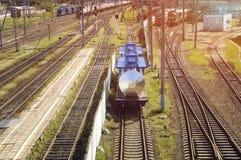 Railway: roads, poles, traffic lights, trains, locomotives. Russia. Railway in Russia : roads, poles, traffic lights, trains and locomotives stock photo