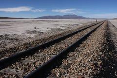 Railway on Salar de Chiguana Royalty Free Stock Photos
