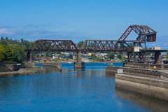 Railway Bridge. The Salmon Bay Bridge, which is located west of the Hiram M. Chittenden Locks, is the last bridge to span the Lake Washington Ship Canal before stock images