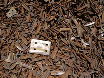 Railway: scrap steel ties and plate. Railway scrap steel pile with rusty ties and fixing plates Stock Image