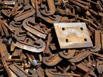 Railway: scrap steel ties and plate close Stock Photos