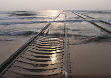 Railway in the sea Royalty Free Stock Images
