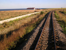 Railway on the sea shore. Railway on the Black sea shore, Romania stock photo