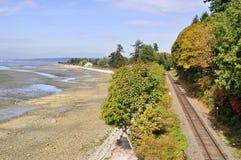 Railway by the sea Stock Photo