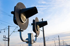 Railway semaphore. Against the blue sky sideways Royalty Free Stock Photos