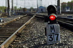 Railway semaphore against the background tracks and locomotive Stock Photography