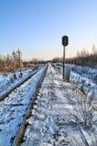 Railway semaphore. hdr Royalty Free Stock Photography