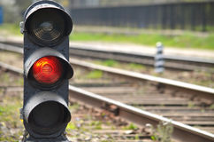 Railway semaphore. Traffic light shows red signal on railway. Red light Stock Images