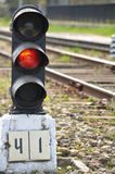 Railway semaphore. Traffic light shows red signal on railway. Red light Stock Photography
