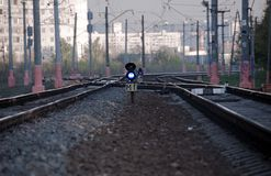 Railway and semaphores Stock Photo
