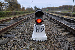 Railway semaphores with red_2 Royalty Free Stock Photo