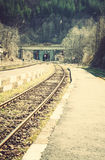 Railway, semaphores and tunnel on a railway station. Railway, semaphores and tunnel on a little railway station Royalty Free Stock Photo