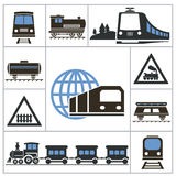 Railway. Set icons Royalty Free Stock Images