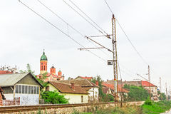 Railway beside settlement Stock Photos