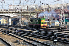 Railway. Shunting diesel Royalty Free Stock Photo