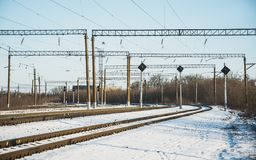 The railway siding, semaphores, signals Stock Images