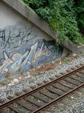 Railway sidings and graffity Royalty Free Stock Photo