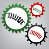 Railway sign. Curved track. Vector. Three connected gears with i royalty free illustration