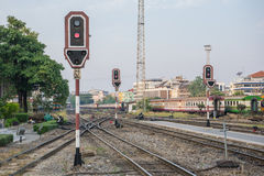 Railway sign posts Royalty Free Stock Image
