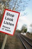Railway Sign. Stop, look & listen Stock Photography