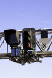 Railway Signal. Gantry showing a red light stock photo