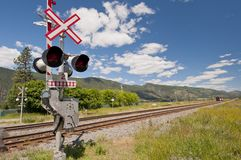 Railway signal control along track Royalty Free Stock Images