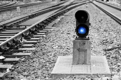 Railway signal lamp. China railway signal lamp, blue can Stock Images