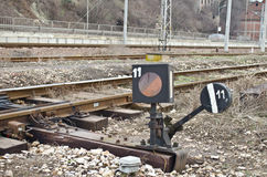 Railway signal lightbox. An old light box to signal the train Stock Photography