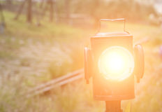 Railway signal lighting Stock Images