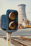Railway signal lights Royalty Free Stock Photo
