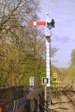 Railway train signal at goathland, yorkshire, england. A railway signal at North York Moors Railway at goathland station, england Royalty Free Stock Photo